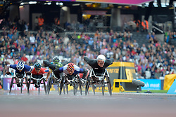 23/07/2017 : Marcel Hug (SUI), Rawat Tana (THA), T54, Men's 5000m, Final, at the 2017 World Para Athletics Championships, Olympic Stadium, London, United Kingdom