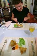 Vienna, Austria. Demi Tass Indian restaurant. Samosas.