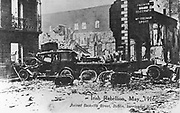 Anti-English Irish uprising, Dublin, May 1916: Ruins and barricade of motor vehicles after an explosion in Sackville Street.