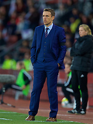 SOUTHAMPTON, ENGLAND - Friday, April 6, 2018: England's head coach Phil Neville during the FIFA Women's World Cup 2019 Qualifying Round Group 1 match between England and Wales at St. Mary's Stadium. (Pic by David Rawcliffe/Propaganda)