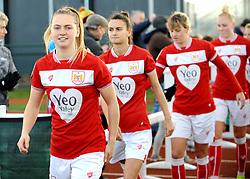 Bristol City Women walk out onto the pitch ahead of kick-off- Mandatory by-line: Nizaam Jones/JMP - 27/01/2019 - FOOTBALL - Stoke Gifford Stadium - Bristol, England - Bristol City Women v Yeovil Town Ladies- FA Women's Super League 1