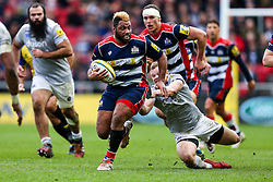 Jamal Ford-Robinson of Bristol Rugby gets away from Chris Cook of Bath Rugby - Rogan Thomson/JMP - 26/02/2017 - RUGBY UNION - Ashton Gate Stadium - Bristol, England - Bristol Rugby v Bath - Aviva Premiership.