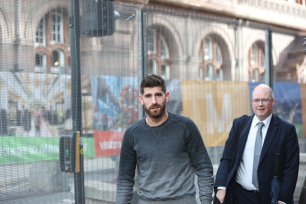 Manchester UK 29.09.2017: Images of Chesterfield Footballer Ched Evans who was  spotted in Cafe Nero with a suited male where they stayed of about  half a hour and left