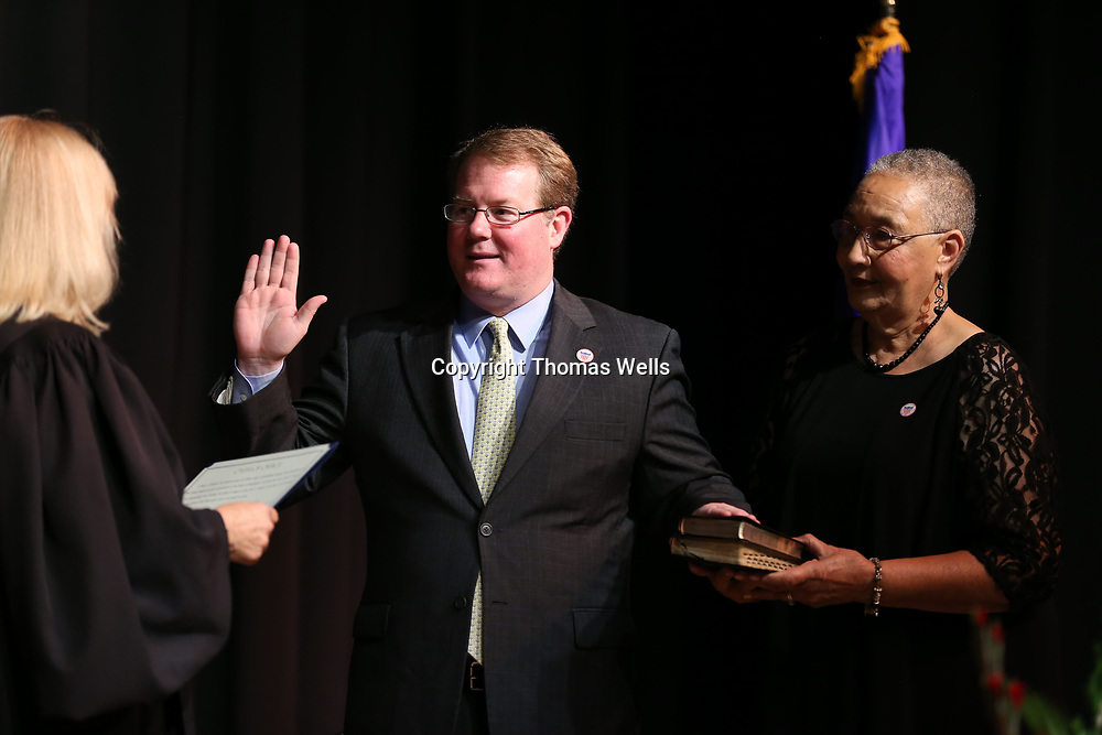 Tupelo Mayor Jason takes the oath of office for his second term as mayor of City of Tupelo at the cities inauguration ceremony atthe Elvis Presley Birthplace Thursday afternoon.