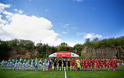 RHOSYMEDRE, WALES - Sunday, May 5, 2019: The players line-up before the FAW JD Welsh Cup Final between Connah's Quay Nomads FC and The New Saints FC at The Rock. (Pic by David Rawcliffe/Propaganda)