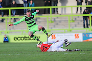Macclesfield Town's Danny Whittaker tackles Forest Green's Elliott Frear during the Vanarama National League match between Forest Green Rovers and Macclesfield Town at the New Lawn, Forest Green, United Kingdom on 30 January 2016. Photo by Shane Healey.