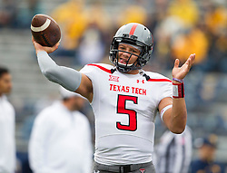 Nov 7, 2015; Morgantown, WV, USA; Texas Tech Red Raiders quarterback Patrick Mahomes warms up before their game against the West Virginia Mountaineers at Milan Puskar Stadium. Mandatory Credit: Ben Queen-USA TODAY Sports
