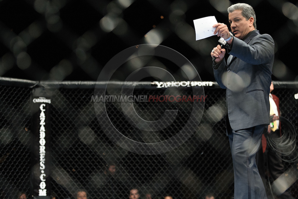 "LAS VEGAS, NEVADA. JULY 11, 2009: Bruce Buffer during ""UFC 100: Making History"" inside the Mandalay Bay Events Center in Las Vegas, Nevada."