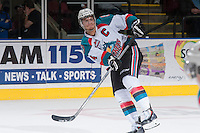 KELOWNA, CANADA - DECEMBER 27: Madison Bowey #4 of the Kelowna Rockets makes a pass against the Kamloops Blazers] on December 27, 2013 at Prospera Place in Kelowna, British Columbia, Canada.   (Photo by Marissa Baecker/Shoot the Breeze)  ***  Local Caption  ***