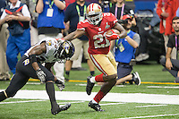 3 February 2013: Runningback (21) frank Gore of the San Francisco 49ers runs the ball and stiff arms (20) Ed Reed of the Baltimore Ravens during the second half of the Ravens 34-31 victory over the 49ers in Superbowl XLVII at the Mercedes-Benz Superdome in New Orleans, LA.