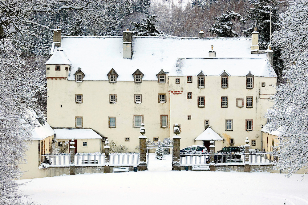 Traquair House in Nov 2010 after early winter snowfalls - oldest inhabited country house in the UK