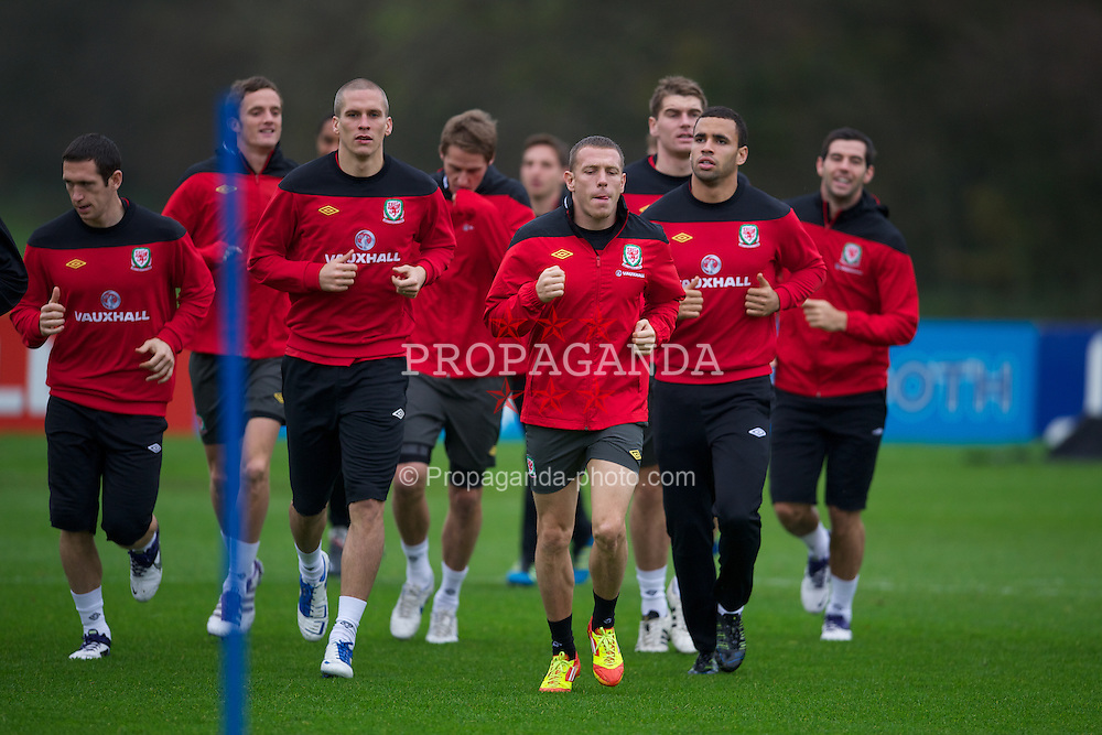 CARDIFF, WALES - Wednesday, November 9, 2011: Wales' Steve Morison, Craig Bellamy and Hal Robson-Kanu during a training session at the Vale of Glamorgan Hotel ahead of the friendly match against Norway. (Pic by David Rawcliffe/Propaganda)