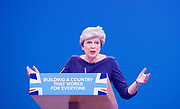 Conservative Annual Conference, Manchester Central, Manchester, Great Britain <br /> Day 4<br /> 4th October 2017 <br /> <br /> Theresa May MP<br /> Leader of the Conservatives makes her Leaders' speech at the end of the 4 day conference in Manchester. <br /> <br /> <br /> <br /> <br /> Photograph by Elliott Franks <br /> Image licensed to Elliott Franks Photography Services