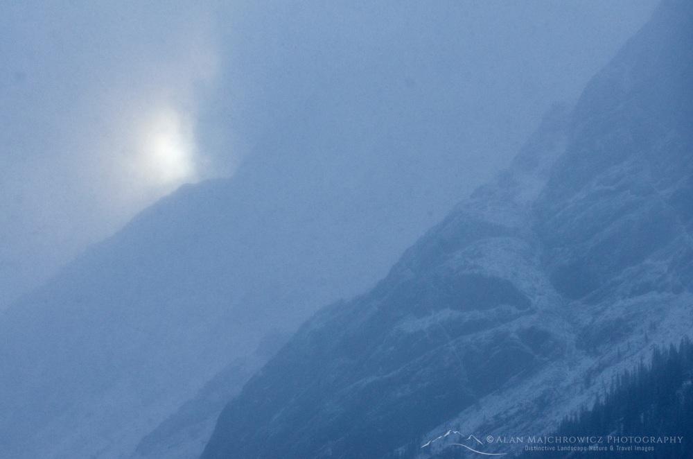 Sunbreak through autumn storm, Kananaskis Country Alberta