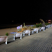 Nightfall over the beach and at last - an open seat to sit down to enjoy the sounds of the Atlantic