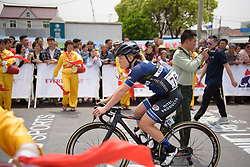 Emilie Moberg makes her way to the start line at Tour of Chongming Island - Stage 2. A 135.4km road race from Changxing Island to Chongming Island, China on 6th May 2017.