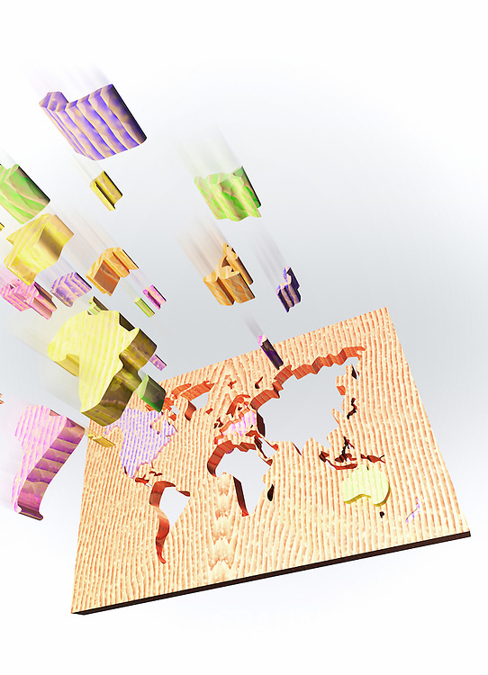 Children's wooden puzzle in shape of world.