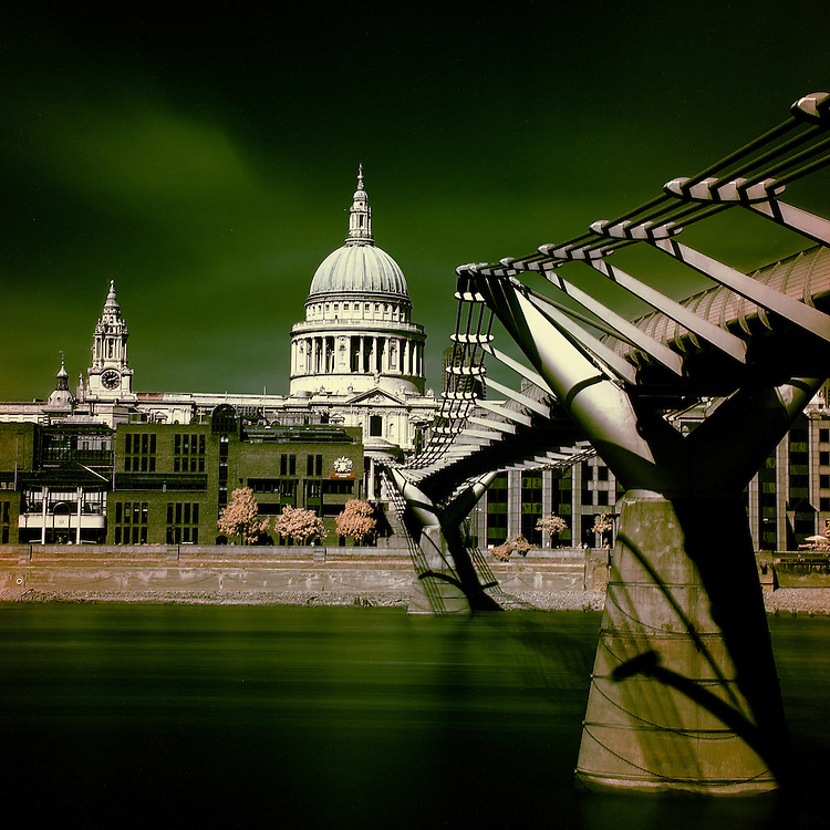 A classic view of St Pauls Cathedral and the Millenium Bridge taken from Bankside.<br />