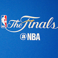 01 June 2017: Close view of of the NBA Finals logo during the Golden State Warriors 113-90 victory over the Cleveland Cavaliers, in game 1 of the 2017 NBA Finals, at the Oracle Arena, Oakland, California, USA.
