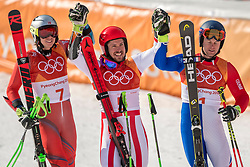 18-02-2018 KOR: Olympic Games day 9, Pyeongchang<br /> Alpine Skiing Men's Giant Slalom at Yongpyong Alpine Centre / Henrik Kristoffersen of Norway, Marcel Hirscher of Austria, Alexis Pinturault of France