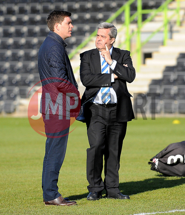 Bristol Rovers Manager, Darrell Clarke with Nick Higgs - Photo mandatory by-line: Neil Brookman/JMP - Mobile: 07966 386802 - 29/04/2015 - SPORT - Football - Nailsworth - The New Lawn - Forest Green Rovers v Bristol Rovers - Vanarama Football Conference