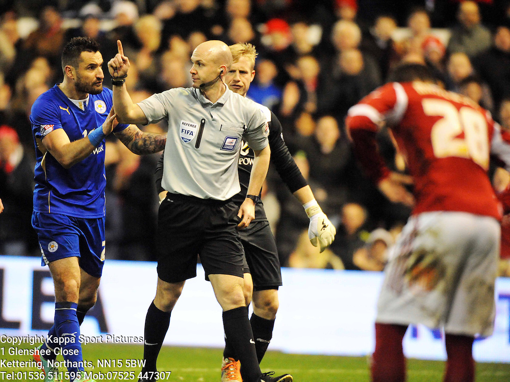 Referee  Mr A Taylor, shows Leicesters Marcin Wasilewski the Red Card, for his tackle on Forests Jamie Mackie, Nottingham Forest v Leicester City, City Ground Nottingham,  Sky Bet Championship, 19th Febuary 2014