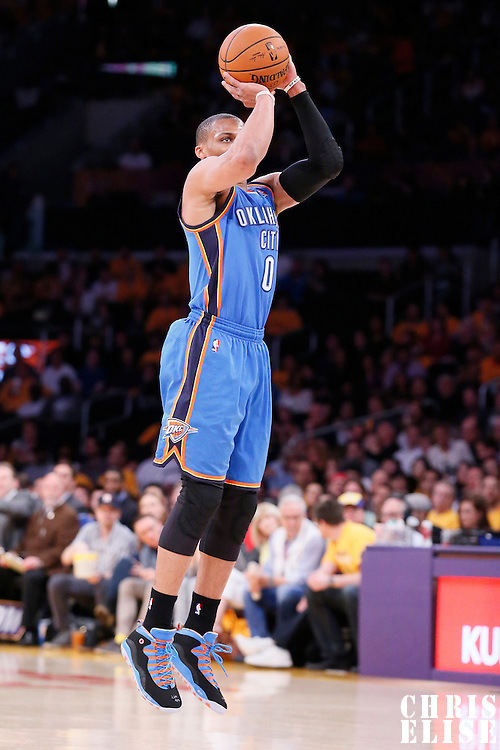 09 March 2014: Oklahoma City Thunder point guard Russell Westbrook (0) takes a jumpshot during the Los Angeles Lakers 114-110 victory over the Oklahoma City Thunder at the Staples Center, Los Angeles, California, USA.