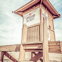 Vintage photo of Newport Beach lifeguard tower 10. Lifeguard stand #10 is located on 10th Street on  Balboa Peninsula in Newport Beach in Orange County Southern California.