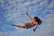 "Pole dancer at ""Mid Burn"", the Israeli ""Burning Man Festival"" held at ""Habonim"" beach north of Israel October 4-6, 2012."