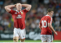 1 June 2013; Paul O'Connell and Owen Farrell, right, British & Irish Lions. British & Irish Lions Tour 2013, Barbarians v British & Irish Lions, Hong Kong Stadium, So Kon Poh, Hong Kong, China. Picture credit: Stephen McCarthy / SPORTSFILE