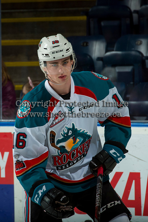 KELOWNA, CANADA - FEBRUARY 24: Kole Lind #16 of the Kelowna Rockets warms up against the Kamloops Blazers on February 24, 2018 at Prospera Place in Kelowna, British Columbia, Canada.  (Photo by Marissa Baecker/Shoot the Breeze)  *** Local Caption ***