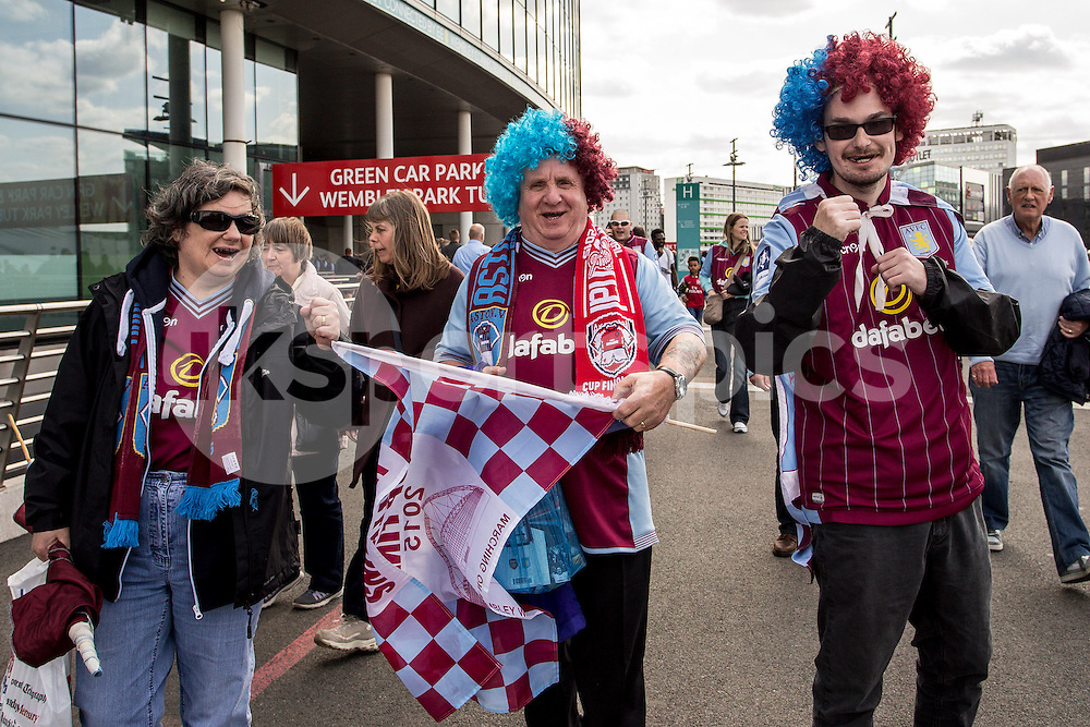 Aston villa fans during the The FA Cup Final match between Arsenal and Aston Villa at Wembley Stadium, London, England on 30 May 2015. Photo by Liam McAvoy.