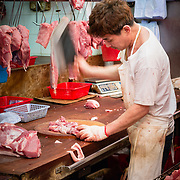 Butcher at Hong Kong street market