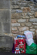 The detritus of a family Christmas awaits the next recycling collection by the local authority, on 27th December 2018, in Clevedon, Noth Somerset, UK.