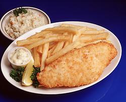 fried fish filet dinner chips french fry fries tartar sauce cole slaw lemon wedge garnish blue plate special