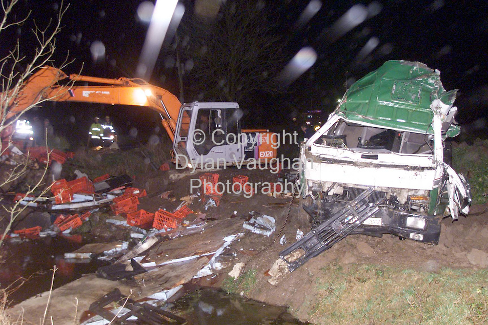 18/12/98 (NOT AN EXCLUSIVE PICTURE).THE TRUCK WHICH WAS INVOLVED IN THE CRASH IN GRANGEMOCKLER PICTURED AT THE SCENE LAST NIGHT..PICTURE DYLAN VAUGHAN
