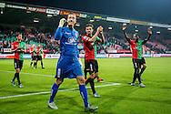 NIJMEGEN, NEC - ADO Den Haag, voetbal, Eredivisie seizoen 2015-2016, 03-10-2015, Stadion De Goffert, NEC spelers vieren de overwinning, NEC keeper Hannes Halldorsson (3L), NEC speler Christian Santos (M), NEC speler Janio Bikel (R).