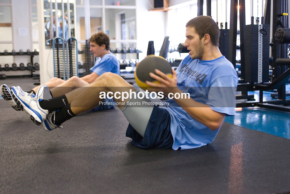 06 September 2007: North Carolina Tar Heels men's lacrosse member Chris Madalon during a weight lifting day at the Kenan Stadium Field House in Chapel Hill, NC.