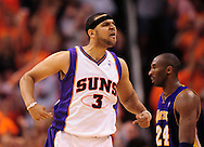 May 25, 2010; Phoenix, AZ, USA; Phoenix Suns forward Jared Dudley (3) reacts during the second half in game four of the western conference finals in the 2010 NBA Playoffs at US Airways Center.  The Suns defeated the Lakers 115 - 106.  Mandatory Credit: Jennifer Stewart-US PRESSWIRE