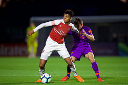 LONDON, ENGLAND - Friday, August 17, 2018: Arsenal's Tyreece John Jules (left) and Liverpool's Adam Lewis during the Under-23 FA Premier League 2 Division 1 match between Arsenal FC and Liverpool FC at Meadow Park. (Pic by David Rawcliffe/Propaganda)