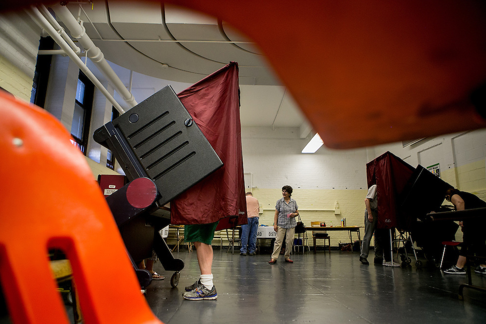 BAYONNE, NJ - JUNE 6, 2016: Voters cast their ballots in the music room at the Dr. Walter F. Robinson School in Bayonne, New Jersey. CREDIT: Sam Hodgson for The New York Times.