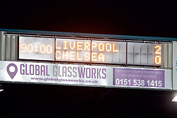 BIRKENHEAD, ENGLAND - Monday, March 13, 2017: The Tranmere Rovers' scoreboard records Liverpool's 2-0 victory over Chelsea during the Under-23 FA Premier League 2 Division 1 match at Prenton Park. (Pic by David Rawcliffe/Propaganda)