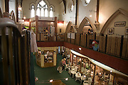 Indoor shopping in converted church, Tynemouth, Northumberland, England