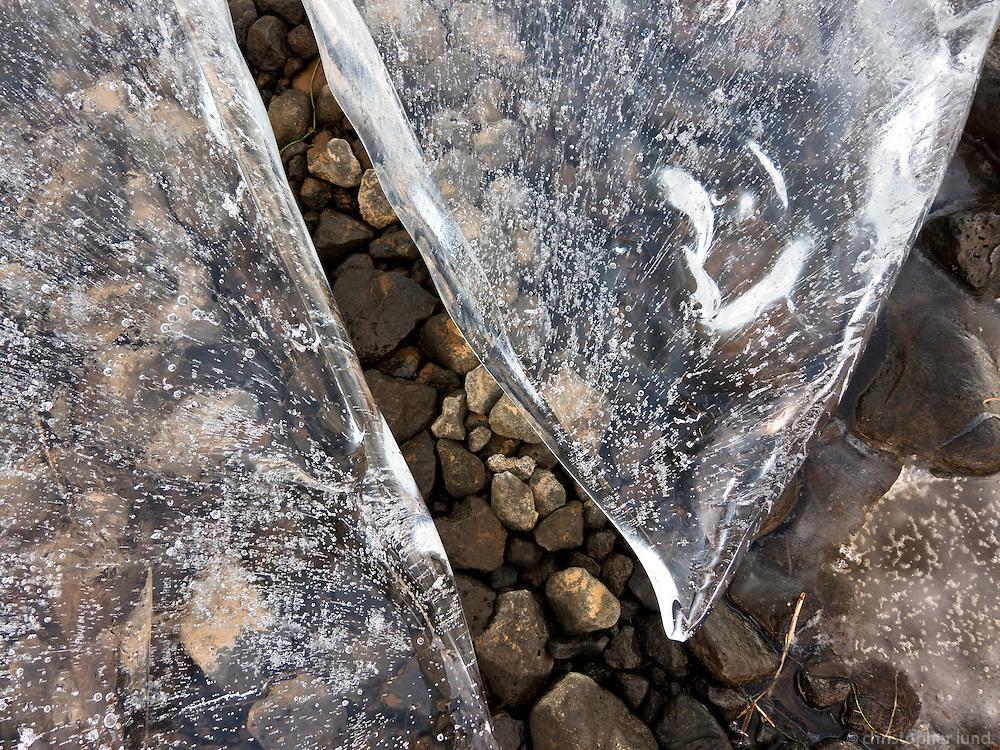 Ice formations at lake Elliðavatn in Reykjavík, Iceland. Ísmyndanir við  Elliðavatn.