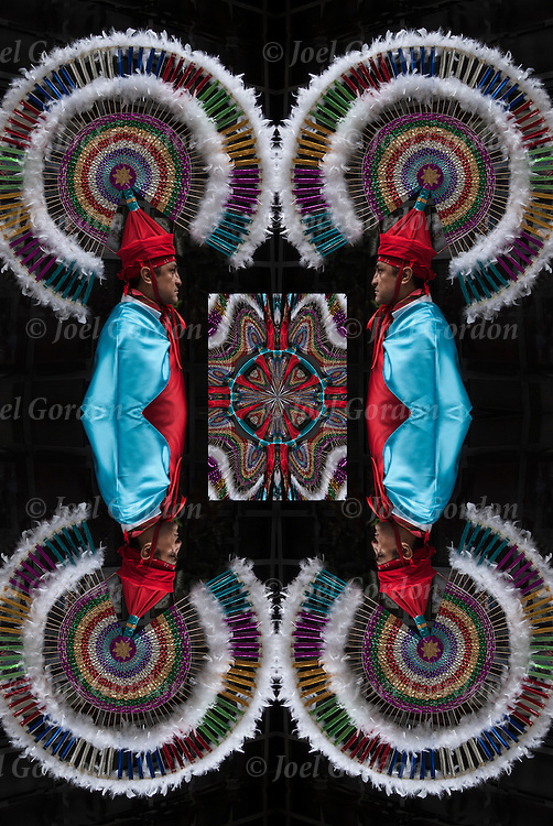 Computer altered abstract mirrored scaled portrait of <br />