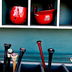 Mar 6, 2013; Clearwater, FL, USA; A detail of Washington Nationals batting helmets and bats in the dugout before a sprng training game against the Philadelphia Phillies at Bright House Field. Mandatory Credit: Derick E. Hingle-USA TODAY Sports