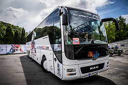 Offcial bus of Slovenia team coming to the arena prior to the 2017 IIHF Men's World Championship group B Ice hockey match between National Teams of Czech Republic and Slovenia, on May 12, 2017 in AccorHotels Arena in Paris, France. Photo by Vid Ponikvar / Sportida