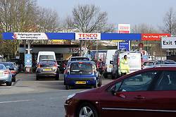 © Licensed to London News Pictures. 30/03/2012. Cars queuing to panic buy petrol at Sidcup Tesco Petrol station, in sidcup, South East London on March 30, 2012. Photo credit : Grant Falvey/LNP
