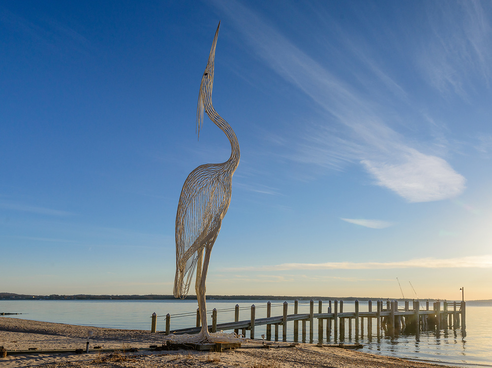 Great Blue Heron, Roberto Julio Bessin's Sculpture, Southold, NY, Peconic River, Shelter Island Sound