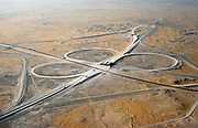 Motorway road junction infrastructure development Dhahran, Saudi Arabia being built in desert, 1979